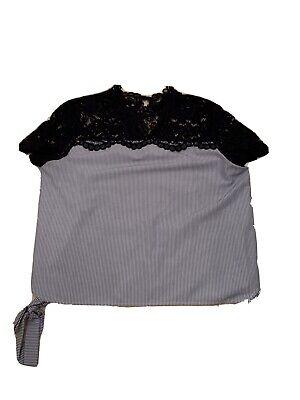 Zara Blue & White Striped Blouse w/ lace detail at neckline side ties Sz.Lg. EUC