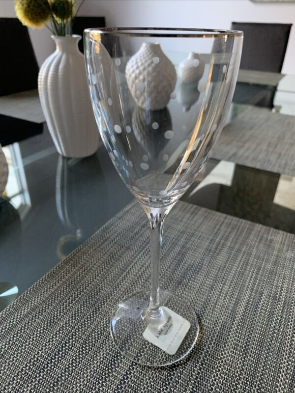 kate spade New York Lenox Larabee Dot Platinum Crystal 7.5 oz Wine Goblet
