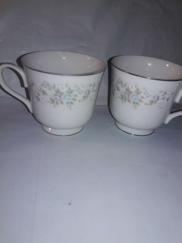 2) Carlton Fine China Corsage Pattern 481 Coffee Cups