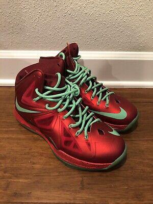 pretty nice 802b8 14334 Nike Lebron X 10 Team Red Green XMAS Christmas Sample Promo 541100-600 Sz 8