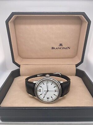 Blancpain Leman Ultra Slim 2100 Steel Automatic White Roman Dial 38mm 100 Hours