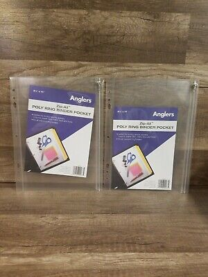 2 Anglers Zip-all Ring Binder Pocket 8 12 X 11 Clear 025728000675 New