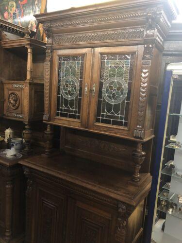 Gründerzeit Buffet Antik Eiche Historismus Bleiverglasung Vintage Möbel Schrank