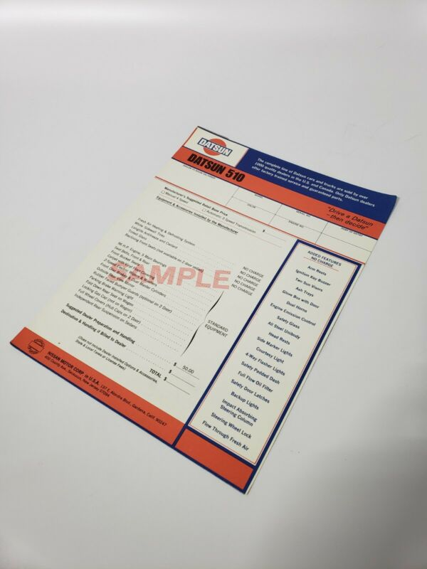 ORIGINAL NOS Datsun Nissan Dealer SAMPLE 510 Moroney Window Sticker ULTRA RARE