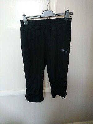 Puma ladies black drawstring  3/4 joggers bottoms workout gym UK 10