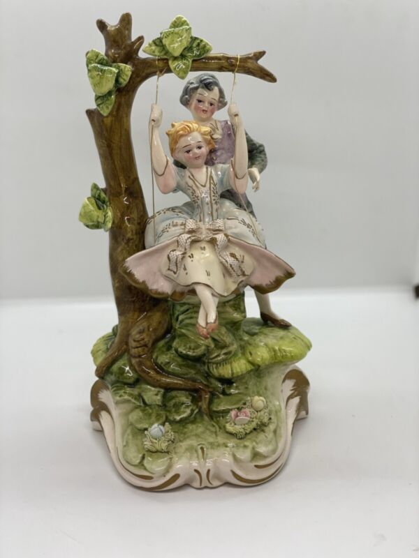 Beautiful Vintage CAPODIMONTE Porcelain Figurine  Man, Woman, Swing