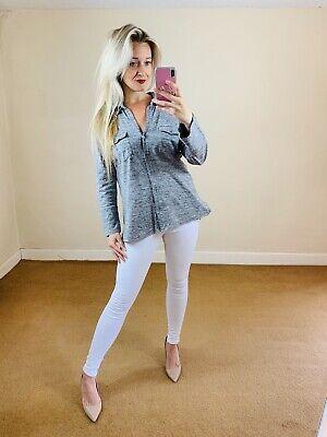 James Perse $185 Jersey Shirt Top Grey US 4 UK Large Relaxed Designer