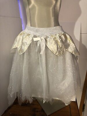 Adult White & Gold  Shimmering Fairy TuTu Layered Skirt One Size Fits Most New