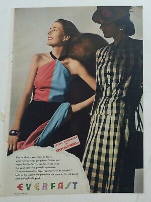 1944 Everfast cotton fabric women's dress vintage fashion color ad