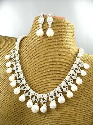 Classic Elegant Pearl Beads Necklace Earring Set Costume Metal Fashion (Bead Necklace Earring Set)