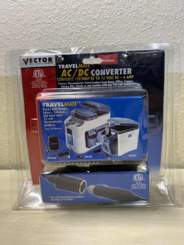Vector Travel Mate ACDC Converter 120V AC to 12V DC 6AMP VEC004A Née Open Box
