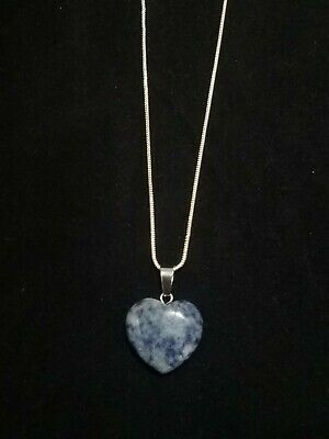 Sodalite Heart Necklace Gemstone Pendant on Sterling Silver Chain  Gemstone Heart Necklace