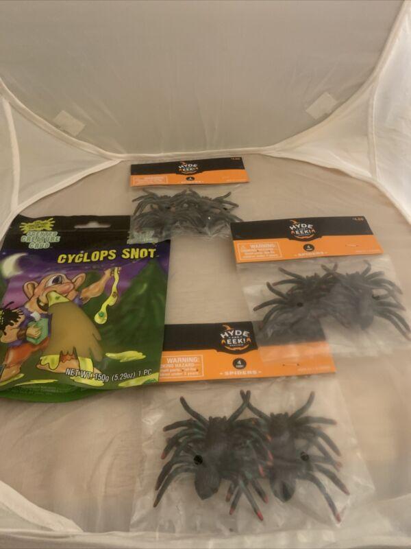 12 CT. Halloween Plastic Spiders & 5 oz. Slimy Cyclone Snot (NEW)