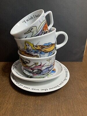 Alice In Wonderland Cafe Coffee Tea Cup By Paul Cardew 2010 Lot 2 Saucers 3 Cups