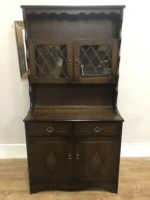 New England Oak Style 2 Piece  Display Cabinet Very Clean Solid Pieces