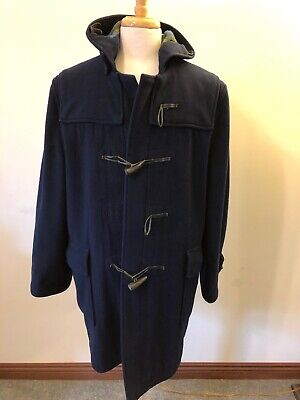 Men's Vintage Gloverall Navy Wool Duffle Toggle Coat-40-Made in -