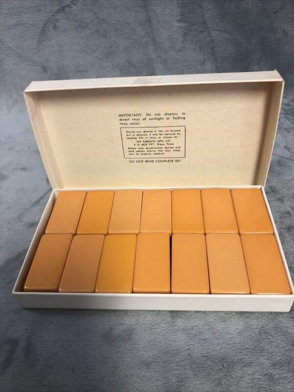Full Set Of Vintage Butterscotch Bakelite Dominoes Still In Original Box