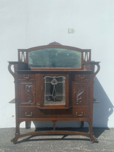 Antique Wood Buffet Curio Cabinet Victorian French Sideboard Hutch Wood Console