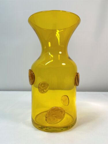 HUSTED Yellow Vase with Blenko etch mark. Mid Century Modern