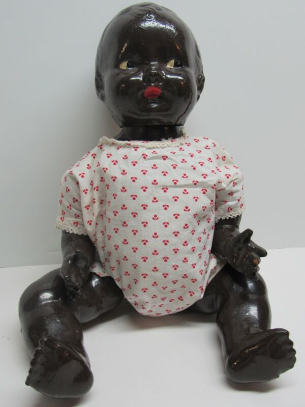 VINTAGE COMPOSITE JOINTED BABY DOLL BLACK  AFRICAN AMERICAN   ~ NEEDS RESCUE