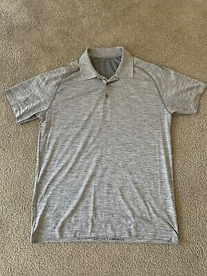 Lululemon Men's Metal Vent Tech Polo Gray White Size XL