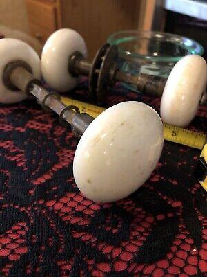 Vintage White Porcelain Door Knobs 4 Knobs 2 Sets GUC Incomplete