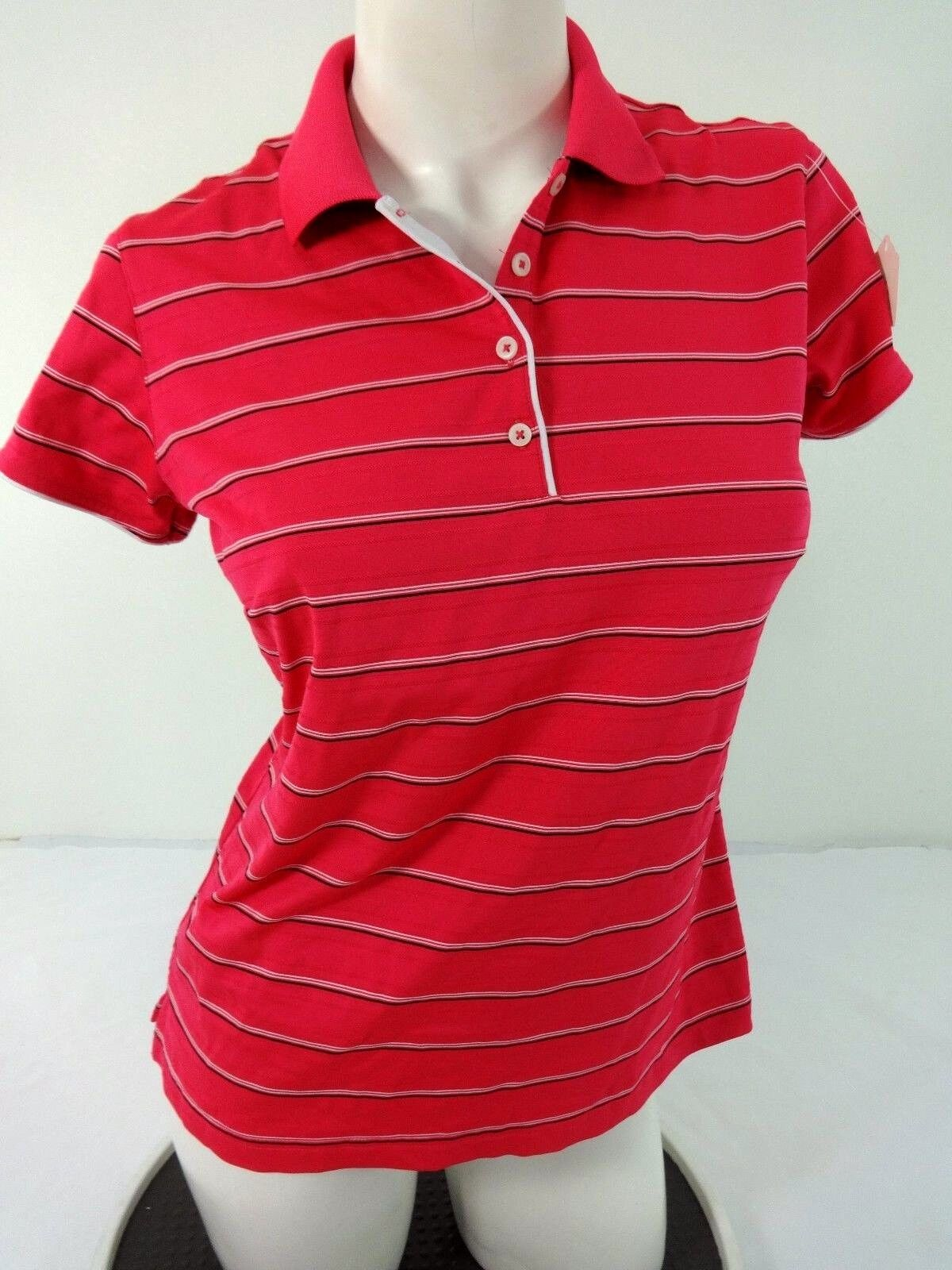 Adidas Womens Pink Climalite Poly Spandex Polo Shirt Size M Ebay