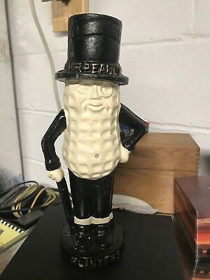 "Planters Mr. Peanut Man Large Heavy Cast Iron 10 1/2"""" Coin Bank Statue Figurine"