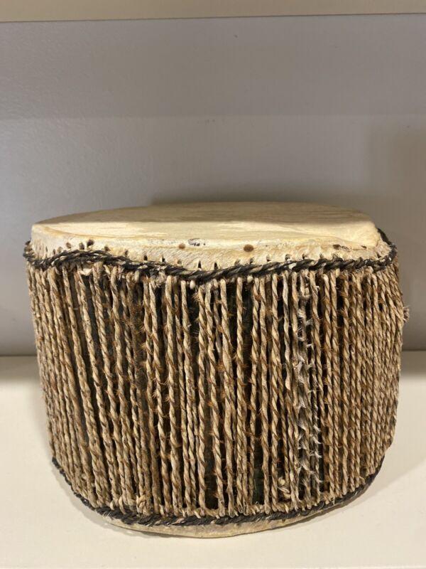 Vintage Animal Hide Drum Metal Unknown Origin