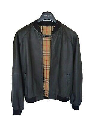 Mens black BURBERRY leather bomber jacket/coat size EU48 UK38 small RRP £1,490