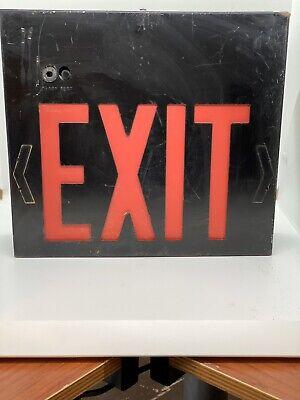 Vtg Industrial Single Side Exit Sign Light Metal Box Untested