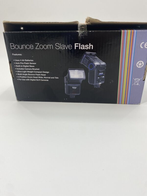 VIVITAR BOUNCE ZOOM SLAVE FLASH NEW - BOX OPENED ONCE TO CHECK CONTENTS