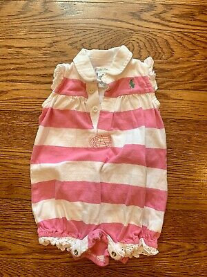 Ralph Lauren Baby Girls Polo Baby Girl Pink And White Romper Size 9 Months