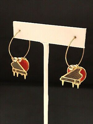 Vintage Earrings Signed Berebi Gold Tone Piano Red Heart Music Theme Hoop 9B - Music Themed Dress Up