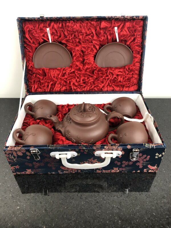Fine Vtg Chinese Yixing Clay Teapot 9 Piece Set Cherry Blossoms w Carrying Case