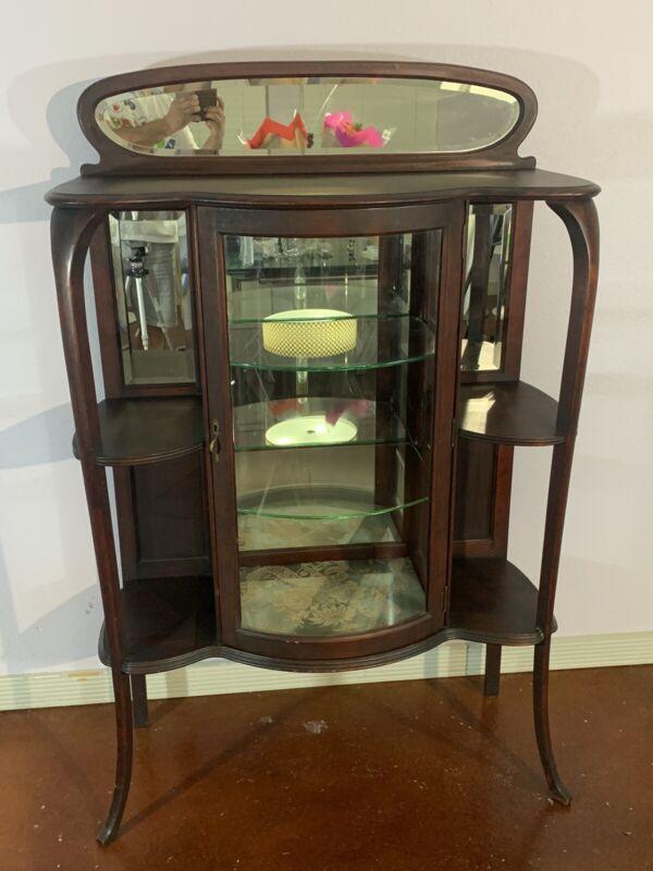 Antique Victorian Mahogany  Curio Cabinet Bookcase