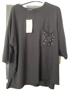 Zara Black Top With Pearls Large
