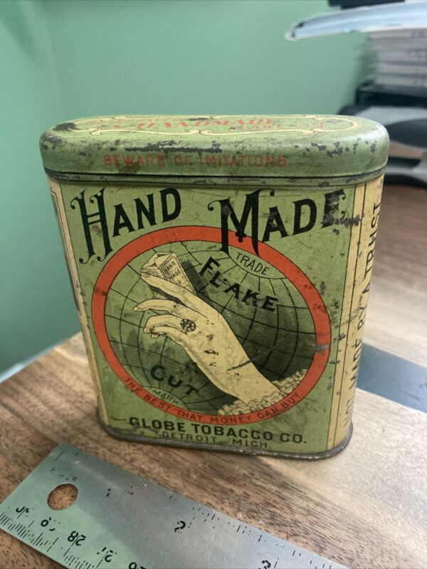 Vintage Hand Made Flake Cut Tobacco Tin Globe Tobacco Company, Detroit  Mich