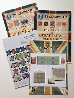 4 x RETAIL PRICE LIST of GREAT BRITAIN POSTAGE STAMPS BOOKS PHILATELICS