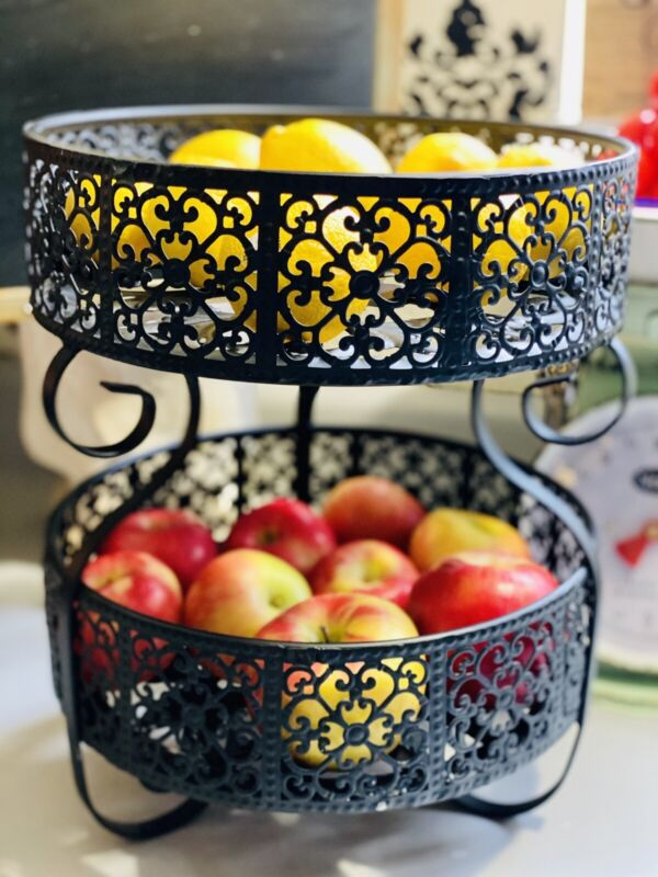 Two Tiered Black Ornate Metal Scrolled Tabletop Fruit/Storage Baskets