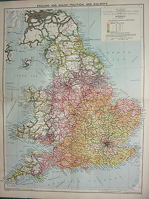 1940 MAP ~ ENGLAND & WALES WITH RAILWAYS BIRMINGHAM LONDON SHIPPING ROUTES