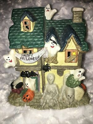 Ceramic Light Up Halloween House Village With Ghosts And Skulls Pumpkins