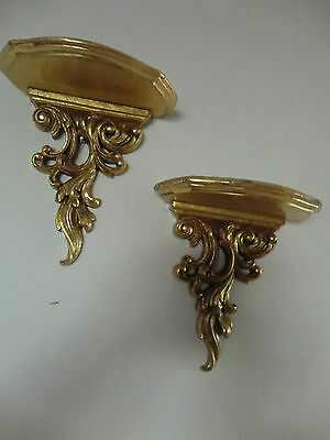 "VINTAGE ,COUPLE SCONCES/WALL SHELVES,PLASTER,GOLD FINISH 7.5""X 8 ,pre owned"