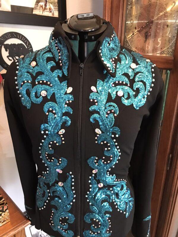Western pleasure horsemanship Showmanship Turquoise Sequin Horse Show Jacket XL+