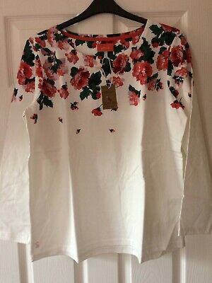 JOULES LONG SLEEVE HARBOUR TOP IN CREAM ROSE BORDER SIZE 18 RRP £29.95 BNWT