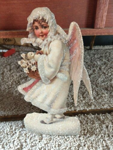 Vintage Victorian Christmas Angel glittered easel card with envelope