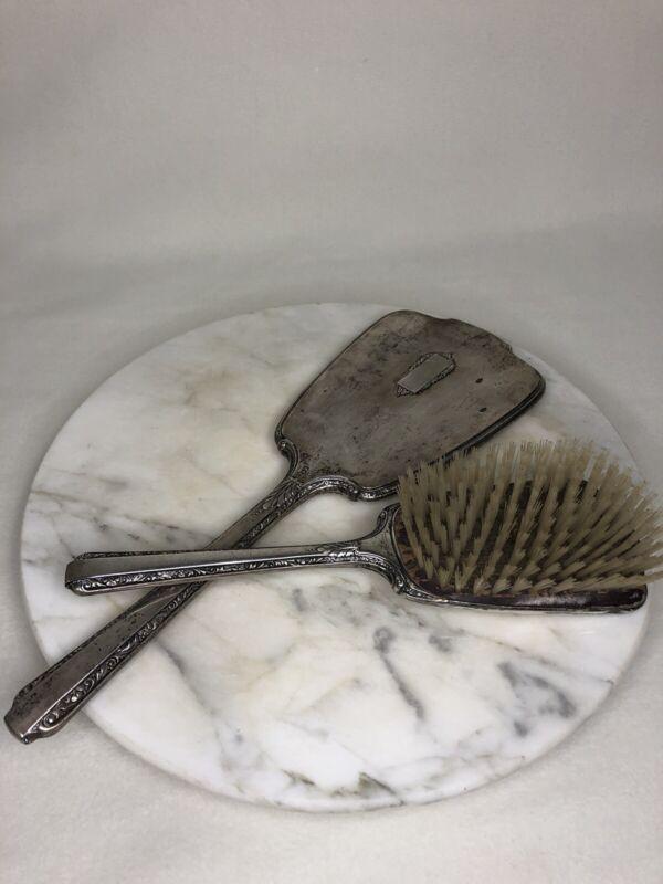 Antique Webster Sterling Silver Vanity Set Beveled Mirror & Brush