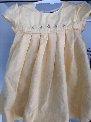 Baby Girl Size 6/9 Months Yellow Ralph Lauren Dress W/ Flower Accents & Bottoms