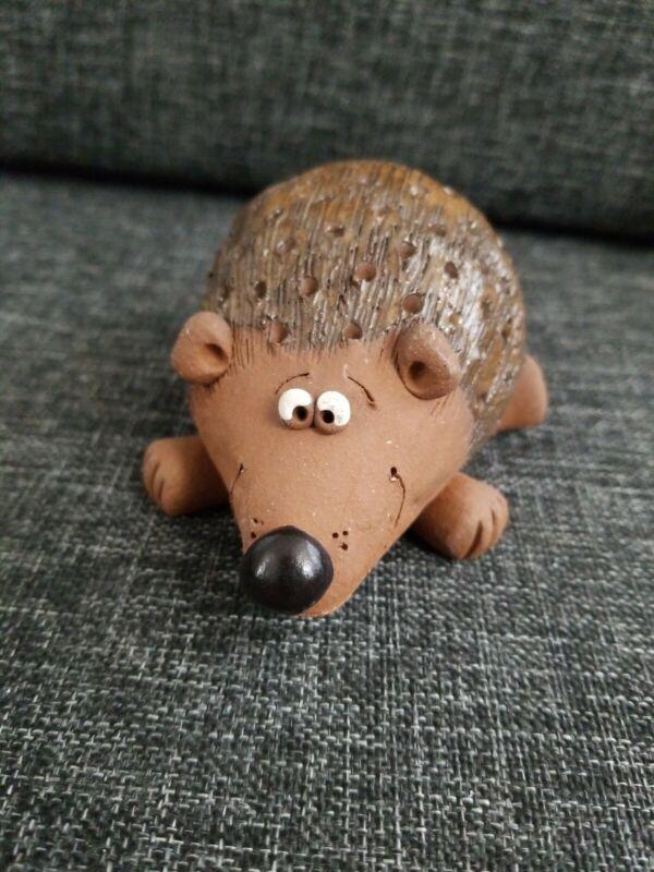 Clay Ceramic Hedgehog signed Figurine