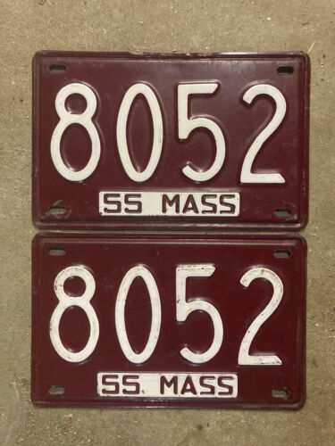 Massachusetts 1955 license plate pair 8052 low number shorty